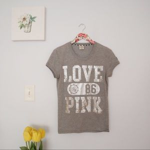 RARE VS PINK LOVE PINK GREY TOP Large